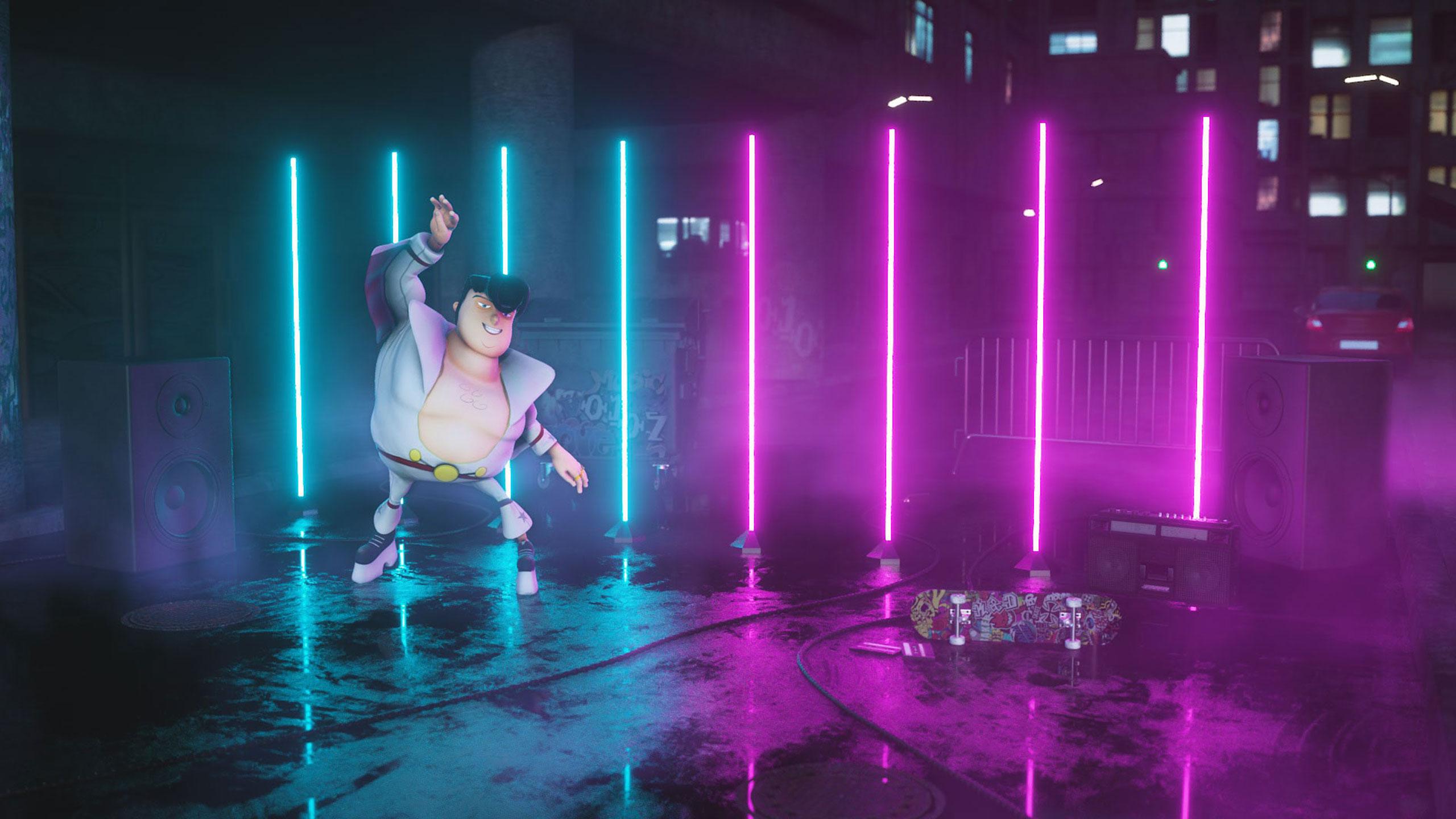 Elvis dancing thriller to techno